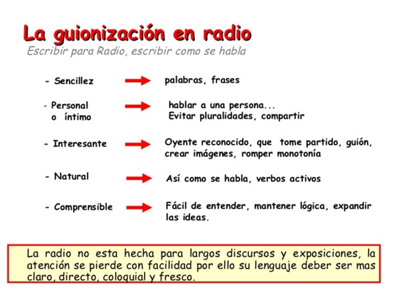 caracteristicas de los guiones de radio
